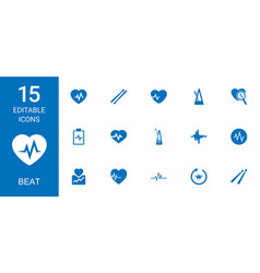 15 beat icons vector