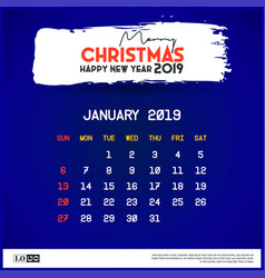 2019 january calendar template merry christmas vector image