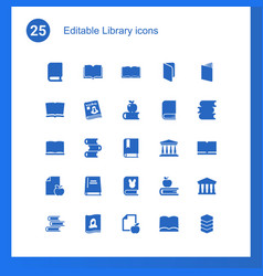 25 library icons vector image