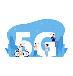 5g internet concept flat people characters vector image
