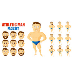 athletic man face set cartoon character vector image