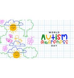 Autism awareness day children doodle cartoon card vector
