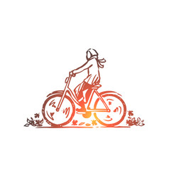 autumn bicycle fall park ride concept hand vector image