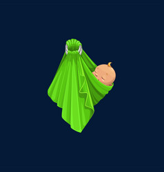 Banewborn girl or boy wrapped in green blanket vector
