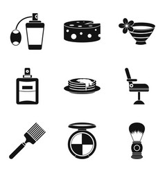 barber icons set simple style vector image