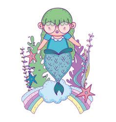 beautiful mermaid in clouds fairytale character vector image