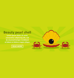 beauty pearl shell banner horizontal concept vector image
