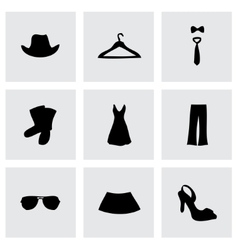 black clothes icons set vector image