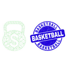 Blue grunge basketball stamp seal and web carcass vector