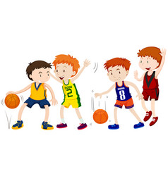 Boys playing basketball on white background vector
