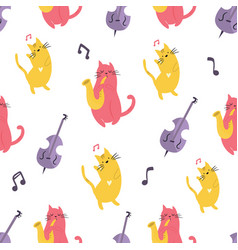 bright seamless pattern with funny cats vector image