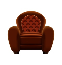 Brown armchair on white background vector image