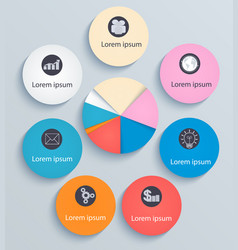 business infographics circles with flat icons vector image