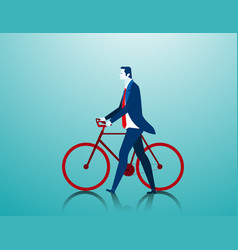 Businessman pushing a bicycle while going to work vector