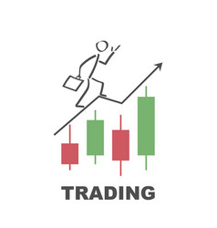 businessman runs to success by trading - design vector image