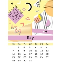 Calendar 2017 Retro vintage 80s or 90s fashion vector image