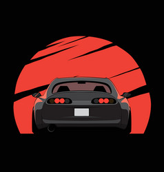 Cartoon japan tuned car on red sun background vector