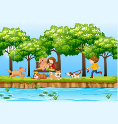 Children and dogs in park vector