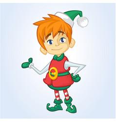 Christmas elf cartoon character santa helper vector