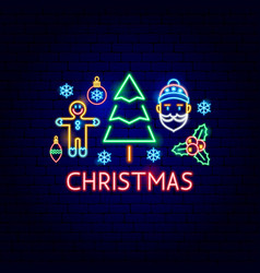 christmas neon label vector image
