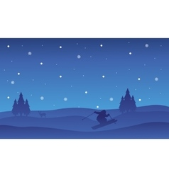 Collection Christmas beautiful landscape at night vector