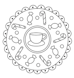 Coloring Simple Candies Mandala vector