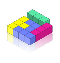 colour isometric figure with reflection on the vector image