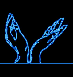 continuous line hand holding something neon vector image