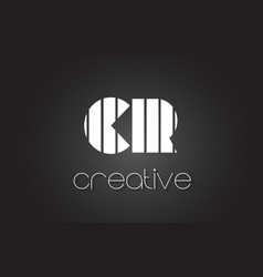 Cr c r letter logo design with white and black vector