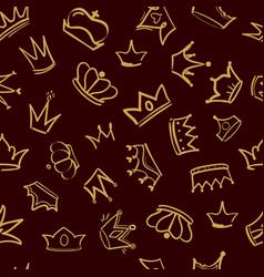 crown pattern textile design golden vector image