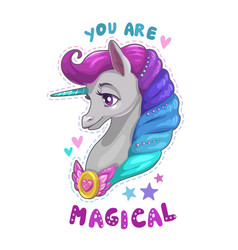 Cute cartoon unicorn portrait vector