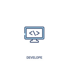 Develope concept 2 colored icon simple line vector