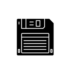 Diskette black icon sign on isolated vector