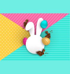 Easter card template with chocolate bunny and eggs vector