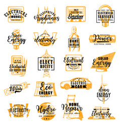 Electrician electricity service lettering icons vector