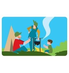 Family of tourist preparing a meal outdoors vector image