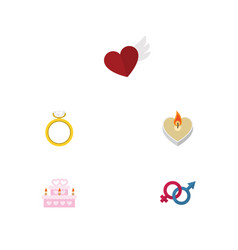 Flat icon love set of patisserie engagement vector