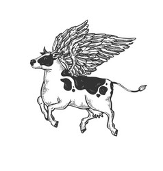 flying cow farm animal engraving vector image