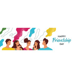 Friendship day banner happy young friends vector