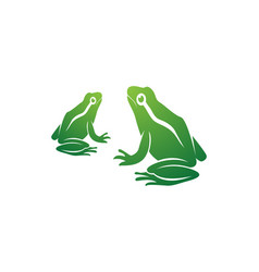 frog green animals logo and symbols vector image
