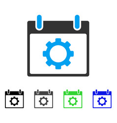 Gear options calendar day flat icon vector