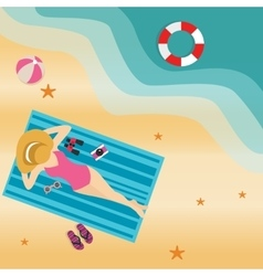 Girl woman lying at beach sand sun tanning wearing vector