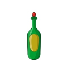 Green bottle of wine icon cartoon style vector image