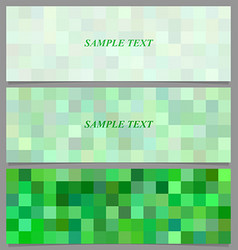 Green square mosaic pattern banner background set vector