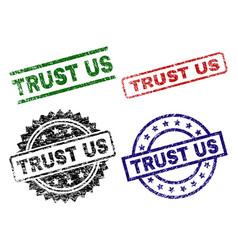 grunge textured trust us seal stamps vector image