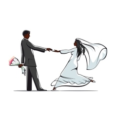 Happy bride and groom joining hands vector