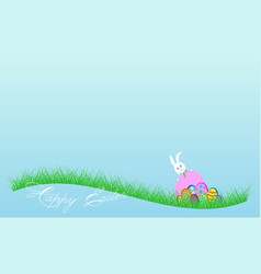 happy easter banner white rabbit and colorful eggs vector image