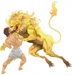 Hercules and the lion vector image