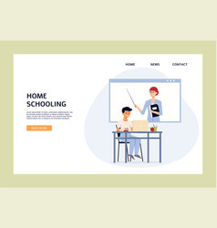 Home schooling banner with child getting lesson vector