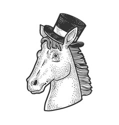 horse in cylinder hat sketch vector image